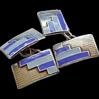 Vintage Sterling Enamel Art Deco Cufflinks 1930s