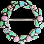 Vintage Bernard Instone Sterling Enamel Floral Wreath Pink Blue Green