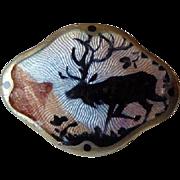 Petite Sterling Enamel Norway Scenic Pin Brooch by Gustav Hellstrom