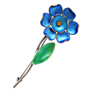 Vintage Bernard Instone Sterling Enamel Flower Brooch Blue