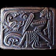 Small Sterling Enamel Norway OPRO Brooch Pin Sigurd Dragon