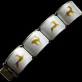 Rare Sterling Enamel Norway Wide Modernist Bracelet Finn Jensen Animals