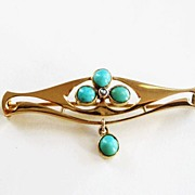 Art Nouveau Jugendstil Murrle Bennett & Co 15k Gold Brooch with Turquoise and Pearl