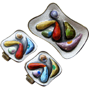 Vintage Mid-Century Modern Sterling Enamel Norway Brooch Earrings Balle