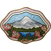 Antique Sterling Enamel Brooch Pin by Charles M. Robbins Mount Hood and Roses