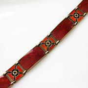 Vintage Sterling Enamel Norway Hestenes Bracelet Red Art Deco