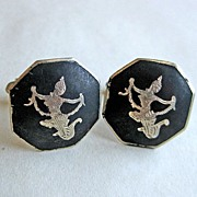 Vintage Sterling Niello Thai Siam Dancing Girl Cufflinks