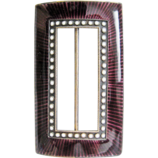 Antique Marius Hammer 930S Silver Enamel Norway Buckle Purple