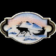 Vintage Sterling Enamel Norway Aksel Holmsen Brooch Guilloche Scenic Sami Reindeer