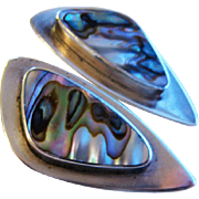 Vintage Sterling Abalone Denmark Clip Earrings Modernist Arne Johansen
