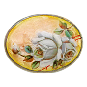 Antique Meyle and Mayer 935 Silver and Enamel Peach Roses Brooch Pin