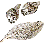 Vintage 1930's Sterling Germany Filigree Leaf Brooch and Earrings Set by Willi Nonnenmann