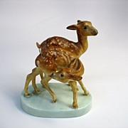 Royal Worcester figure by Doris Lindner-young spotted deer