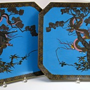 Pair of BIG antique Japanese Meiji cloisonne chargers of Dragons in trees 17""