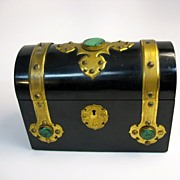 Great Victorian bronze & malachite box with set of 4 books inside