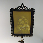 Antique cast iron & lithopane table face fire screen-girl with cat 1870's