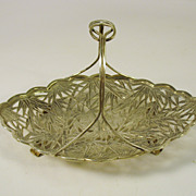 Antique signed Chinese silver figural footed bamboo basket