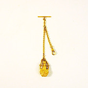 Victorian Ladies ormolu perfume bottle watch fob chatelaine