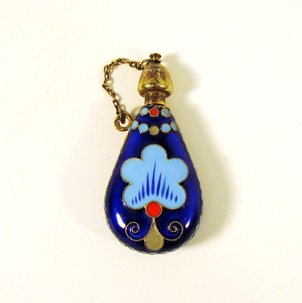Vintage Russian silver & enamel perfume bottle marked 916