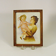 Framed Victorian German bisque plaque of a Mother & Child
