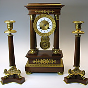 Superb vintage French gilt bronze mantle clock set