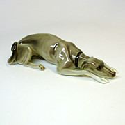 Large colored Nymphenburg GREYHOUND dog porcelain figure