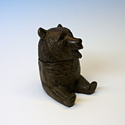 Antique Black Forest wood bear inkwell or match holder