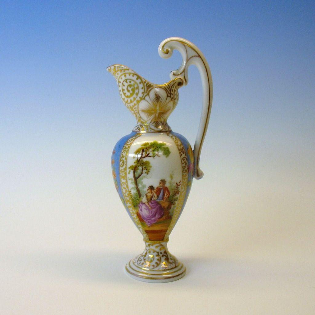 Antique Miniature Dresden Hand Painted Porcelain Fancy