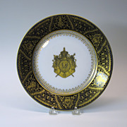 Cobalt and gilded Napoleonic cabinet plate marked Imp.de Sevres