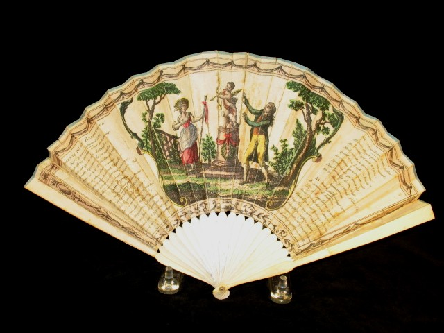 Rare 1700's printed paper Ladies hand fan