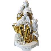Austrian Arts & Crafts gilded porcelain figure Lady & children