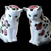 Big pair of PLICHTA Wemyss ware Cats in Clover pattern