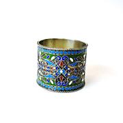 Vintage Russian silver & enamel Napkin ring