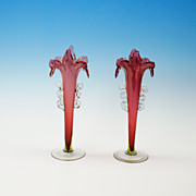 Pair of antique cranberry glass Jack in the Pulpit vases