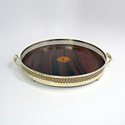 American sterling silver mahogany inlaid serving tray