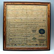 Rare 1825 Staten Island New York Sampler textile - Red Tag Sale Item