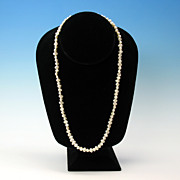 "Vintage 21"" long strand natural shape large cultured pearls 7mm"