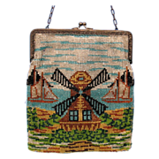 Vintage beaded scenic purse Windmill & boats