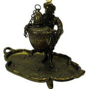 Victorian figural bronze table oil Cigar lamp