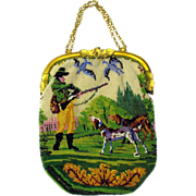 Victorian micro beaded scenic purse hunting scene with dogs