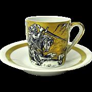 VA Portugal gilded scenic demi tasse cup & saucer #1