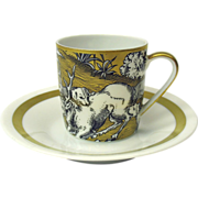 VA Portugal gilded scenic demitasse cup & saucer #4