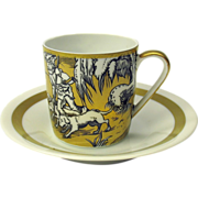 VA Portugal gilded scenic demitasse cup & saucer #5