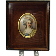 Antique framed hand painted porcelain portrait plaque