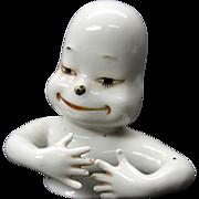 Rare bizarre porcelain pin cushion half doll