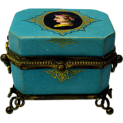 Unusual Grand Tour porcelain casket box with portrait