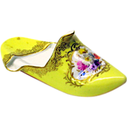 Miniature Meissen porcelain cabinet shoe yellow with flowers