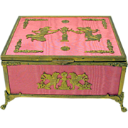 Palais Royal pink silk & gilt ormolu dresser box