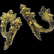 Big pair Antique gilded brass bronze curtain tie backs