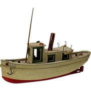 Vintage painted Folk Art model Steam Boat the J.O.H